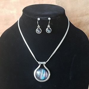 KC steel silver necklace with earrings